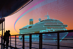 sunset cruise ship wireframe