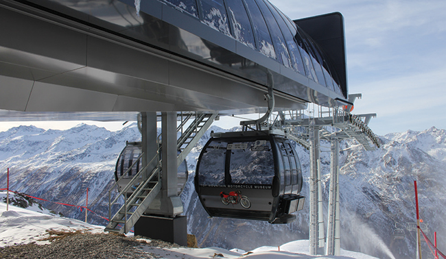 cable car over snowy mountains