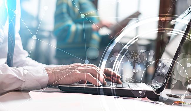 Man hands at laptop