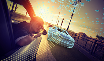 Woman leaning out of the window of a car with a wireframe vehicle driving past her