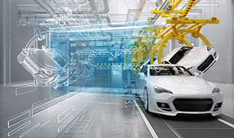 Cars being manufactured with software interface and models projected in air