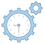 Line drawing icon of gear with clock inside