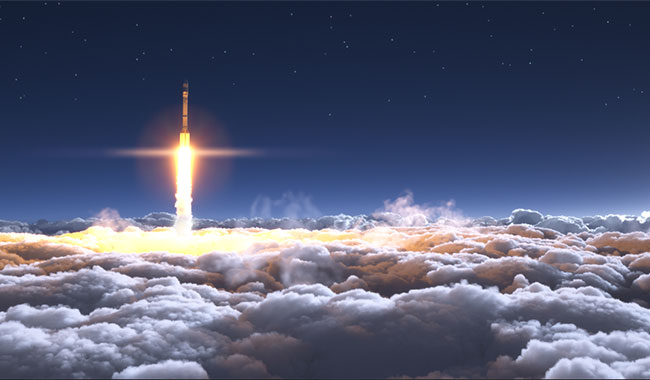 Rocket launching into space from Earth's atmosphere