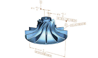 part model with dimensions and tolerances